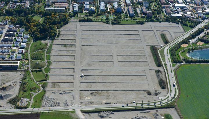 Luftaufnahme vom neuen Poinger Baugebiet